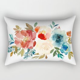 Red Turquoise Teal Floral Watercolor Rectangular Pillow
