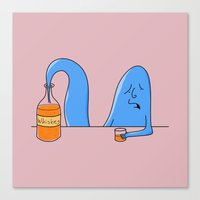 whiskey Canvas Prints featuring whiskey genie by gazonula