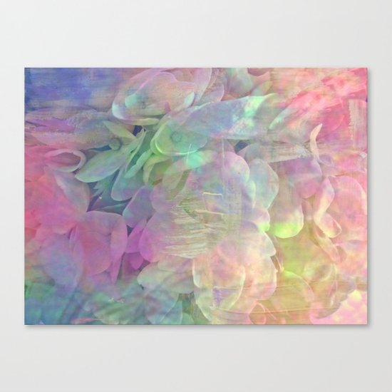 Sweet Pastel Garden Hydrangea Abstract Canvas Print