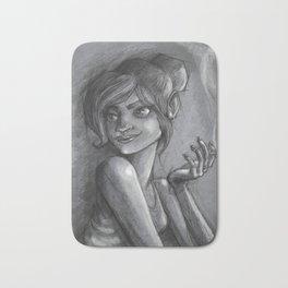 Smoking lady sketch Bath Mat
