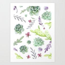 Cactus Watercolor Pattern 2 Art Print