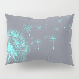 Gray and Teal Dandelion Pillow Sham