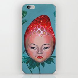 Strawberry head iPhone Skin