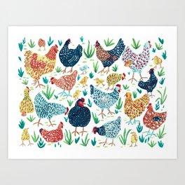 Hens and Chicks Art Print