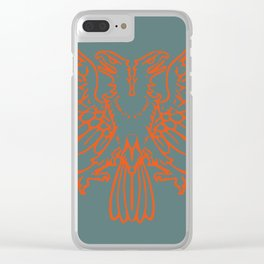 red double-headed eagle on gray background Clear iPhone Case