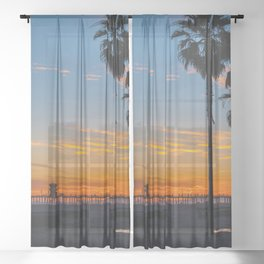 Palms and Zero at Sunset Sheer Curtain