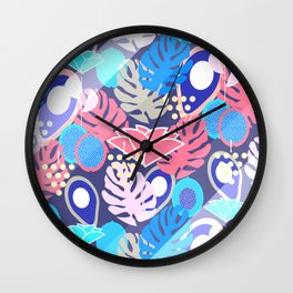 Tropical in blue light Wall Clock