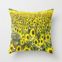 Sunflower Field Art Throw Pillow