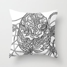 Neurons & Brain Throw Pillow