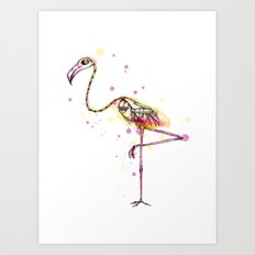Flamingo Skeleton Watercolor Art Print