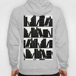 Library Book Shelves, black and white Hoody