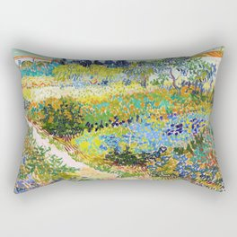Vincent van Gogh - Garden At Arles, Flowering Garden With Path - Digital Remastered Edition Rectangular Pillow