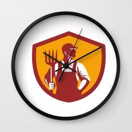 Organic Farmer Pitchfork Crest Retro Wall Clock