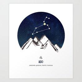 Astrology Leo Zodiac Horoscope Constellation Star Sign Watercolor Poster Wall Art Kunstdrucke