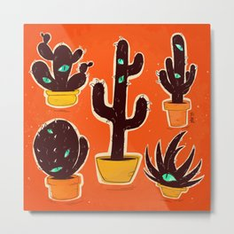 Cat//Cactus Metal Print