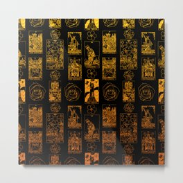 Beautiful Gold Tarot Print on Black Metal Print