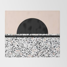 Terrazzo Stone Pattern Black and Orange Peach Throw Blanket