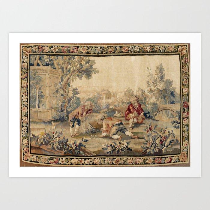 Aubusson  Antique French Tapestry Print Kunstdrucke