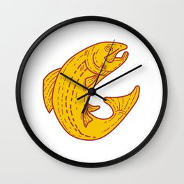 Rainbow Trout Jumping Mono Line Wall Clock