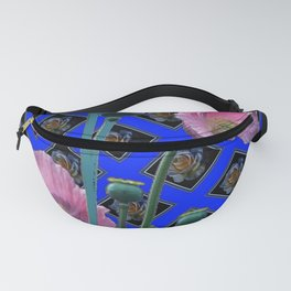 PINK GARDEN POPPIES ON BLUE PATTERNED ART Fanny Pack