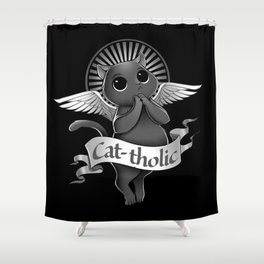 Cat-tholic Shower Curtain