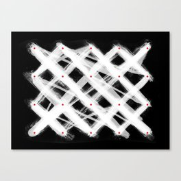 Dotted Grid with Brush Strokes Black Canvas Print