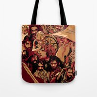 the hobbit Tote Bags featuring Hobbit Tribute by Hyung86