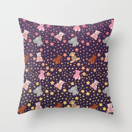 Cute Pink Purple Stuffed Animals Stars Pattern Throw Pillow
