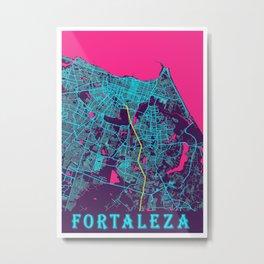Fortaleza Neon City Map, Fortaleza Minimalist City Map Art Print Metal Print