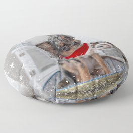 Cute Santa Chihuahua Puppy Floor Pillow