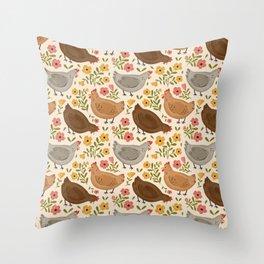 Springtime Chickens Throw Pillow