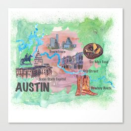 Austin Texas Favorite Map with touristic Top Ten Highlights in Colorful Retro Style Canvas Print