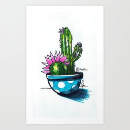 Cactus y lunares 2 Art Print