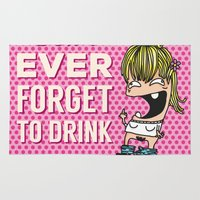 drunk Area & Throw Rugs featuring DRUNK GIRL by flydesign