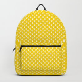 Tiny Paw Prints Pattern - Bright Yellow & White Backpack