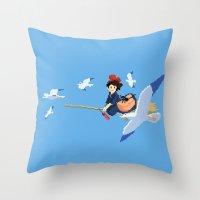 kiki Throw Pillows featuring Kiki by 8-bit Ghibli