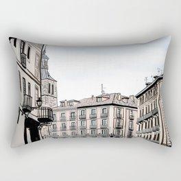 Major Square of Segovia Drawing in Spain Rectangular Pillow