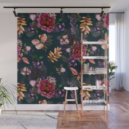 Autumn dark roses and florals Wall Mural