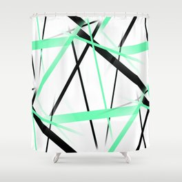 Criss Crossed Mint Green and Black Stripes on White Shower Curtain