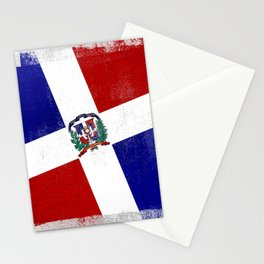 Dominican Republic Distressed Halftone Denim Flag Stationery Cards