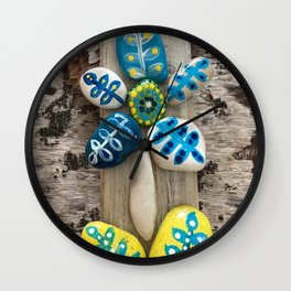 Yellow Rock Flower Wall Clock
