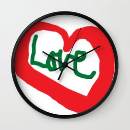 Love Red Heart Love Quotes Saying T-Shirt Wall Clock