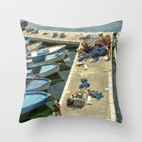 fishing Throw Pillows featuring Fishing by Sébastien BOUVIER