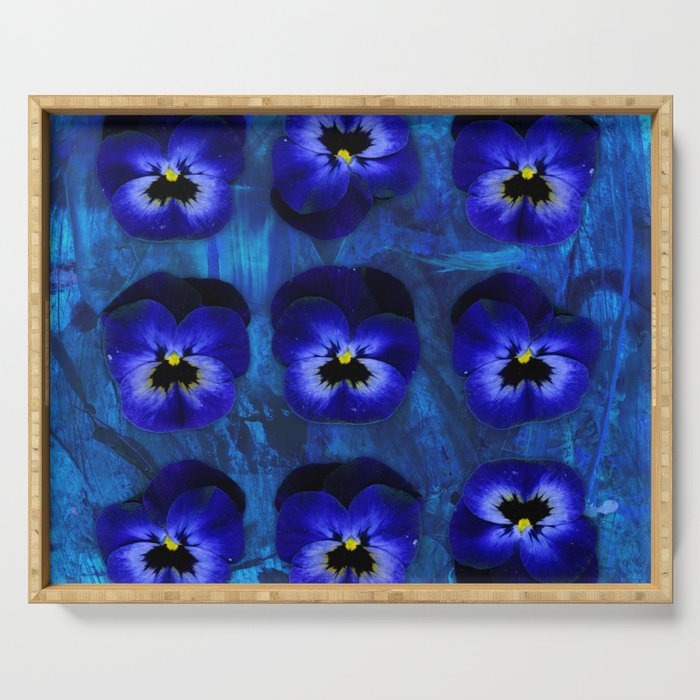 Deep Blue Velvet Serving Tray