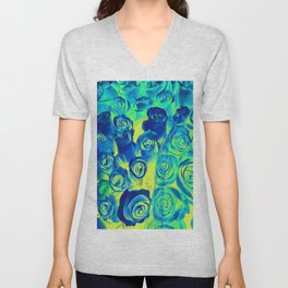 bouquet of roses texture pattern abstract in blue and green Unisex V-Neck