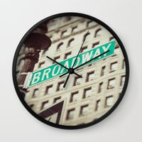 broadway Wall Clocks featuring Broadway  by Carmen Moreno Photography