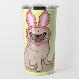 Pug dog in a rabbit costume Travel Mug