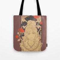 art nouveau Tote Bags featuring Art Nouveau by Tshirt-Factory