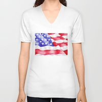 american flag V-neck T-shirts featuring American Flag by Bridget Davidson