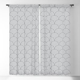 Grey Concentric Circle Pattern Blackout Curtain